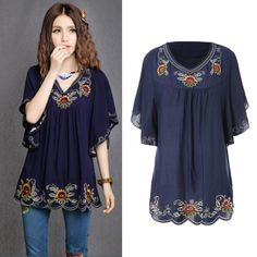 Cheap dress to look thinner, Buy Quality blouse sheer directly from China blouse denim Suppliers:  Hot Sale Vintage 70s Ethnic Style Floral Shirt Embroidered Hippie Women Blouse Dress Bat Sleeve Tops Free Shipping