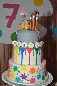 Bolo tema Pintando o 7 em festa decorada por Poesia em Festa. Mais fotos em www.kikidsparty.com.br