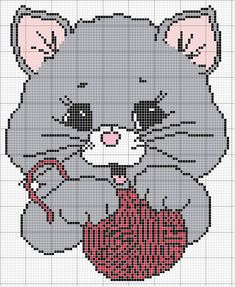 Cat with a ball of yarn Santa Cross Stitch, Cross Stitch For Kids, Cross Stitch Baby, Cross Stitch Charts, Cross Stitch Patterns, Cat Cross Stitches, Cross Stitching, Cross Stitch Embroidery, Pixel Crochet Blanket