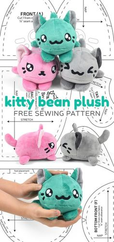 This week Ive made up a pattern that was inspired by the adorable Tsum Tsum plushies you see from Disney. I love the simple stackable shape of their bodies so I created something sim cat beanbag free sewing pattern for plush toy Plushie Patterns, Animal Sewing Patterns, Sewing Patterns Free, Free Sewing, Sewing Tutorials, Free Pattern, Softie Pattern, Clay Tutorials, Pattern Ideas