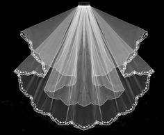 Just beautiful! Two Tier Beaded Floral Embroidery  Fingertip Length Wedding Veil- Affordable Elegance Bridal -