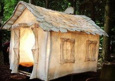 omg love this house tent  #glamping  #ABeachCottagePins... omg i really want this to go with my vintage camper... Perfection !!!