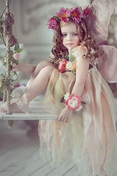 Its precious and goes great with my theme. PS Josh said he would not mind it for the flower girls. Flower Girls, Flower Girl Dresses, Baby Fairy, Beautiful Children, Little Princess, Belle Photo, Faeries, Children Photography, Swing Photography