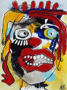 Original LABEDZKI Abstract Painting Outsider Art The Clown Within 17 5x23 Inch | eBay