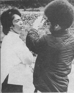Bruce Lee and Jim Kelly on the set of Enter the Dragon