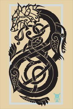 Artworks and Prints - Northlander Drum Craft Fenrir Tattoo, Norse Tattoo, Celtic Tattoos, Viking Tattoos, Wolf Tattoos, Wolf Tattoo Design, Tattoo Designs, Tattoo Drawings, Body Art Tattoos