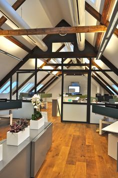 Office under the beams.