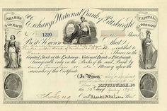 Exchange National Bank of Pittsburgh 4 shares à 50 $ 13.7.1895.