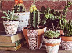 Creative Flower Pots A unique lace flower pot