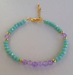 Turquoise crystal and purple beaded bracelet pulseira de cristal turquesa e roxa