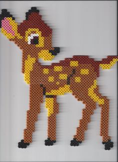 Bambi hama beads by hellokitty Hama Beads Disney, Diy Perler Beads, Perler Bead Art, Hama Disney, Melty Bead Patterns, Pearler Bead Patterns, Perler Patterns, Beading Patterns, Hama Beads Design