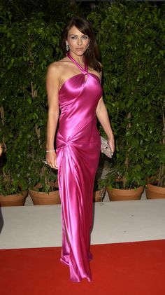 Pin for Later: We Think We Know What Colour Elizabeth Hurley Will Wear For Her Birthday Party May 2003 Satin Gown, Satin Dresses, Sexy Dresses, Beautiful Dresses, Silk Gown, Pink Dresses, Silk Satin, Elizabeth Hurley, Old Hollywood Glamour