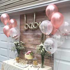 Rose Gold Balloon and Confetti Balloons - Rose Gold Party Decorations, Blush Par., Rose Gold Balloon and Confetti Balloons - Rose Gold Party Decorations, Blush Party Balloons, Rose Gold Confetti Balloons Una parte basic de. Baby Shower Floral, Baby Shower Roses, Deco Baby Shower, Cute Baby Shower Ideas, Baby Girl Shower Themes, Simple Baby Shower, Girl Baby Shower Decorations, Gold Baby Showers, Baby Shower Balloons