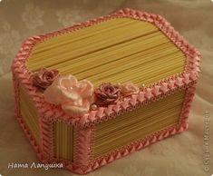 Шкатулка из шпажек Розовое настроение