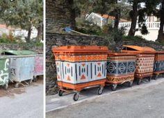 A kukák kicsinosításával dobták fel az utcaképet egy görög faluban Hungary, Planters, Curtains, Erika, Blinds, Plant, Window Boxes, Draping, Picture Window Treatments