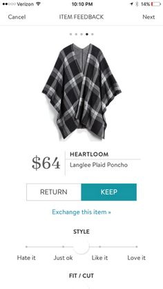d0ad1e3f5 I would love a plaid poncho similar to this with sleeves.