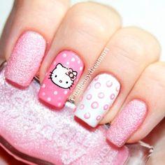 Red Nail Designs, Pretty Nail Designs, Simple Nail Designs, Nails For Kids, Girls Nails, White Nails, Pink Nails, Pastel Nails, Ongles Hello Kitty