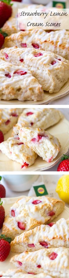 Get ready for these Scones no kidding I made them for afternoon tea on Sunday and they were a hit. These simple scones are filled with sweet strawberries and tangy lemon flavor to make the perfect breakfast, brunch, or dessert! Brunch Recipes, Sweet Recipes, Dessert Recipes, Brunch Food, Brunch Ideas, Just Desserts, Delicious Desserts, Yummy Food, Pavlova