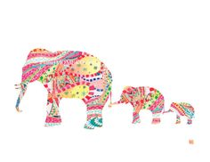 Cute elephant print from planetmomeko on Etsy! Perfect for the nursery.