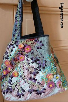 / handmade tote bag / beads and embroidery / Tote Bags Handmade, Handmade Purses, Fabric Purses, Fabric Bags, Patchwork Bags, Quilted Bag, Recycle Old Clothes, Embroidered Bag, Silk Ribbon Embroidery