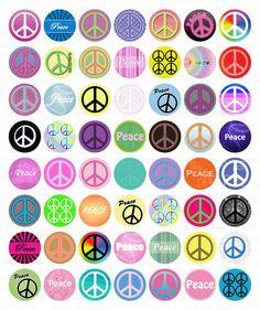 Funky Círculos signos de la paz 1 Inch