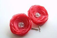 Wedding Flower Hair Piece, Coral Pink Bridal Hair Flowers (2 pcs), Salmon Pink, Wedding Flower Clips, Bridal Accessories, Bridesmaids Gift