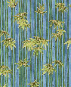 BAMBOO FOREST: Blue/Gold Metallic Asian Fabric 1/2 by AsianFabrics
