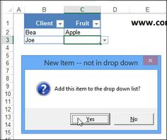 Automatically add new items to a drop down list - Contextures http://blog.contextures.com/archives/2014/07/10/add-new-items-to-excel-drop-down-list/