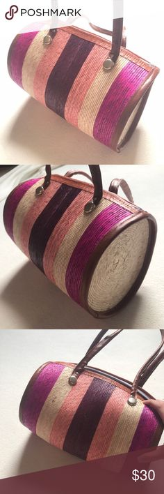 Straw Striped Cylinder Bag So cute! Striped straw bag. Love the colors. Inside is empty, no pockets or zippers. Bags