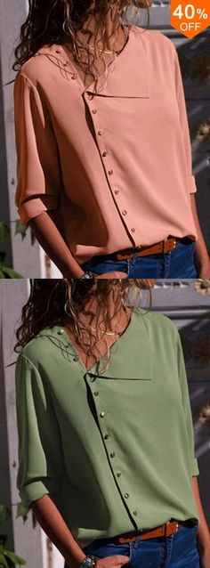 Women Long Sleeve Button Down Loose Casual Basic Blouse Fall Outfits, Cute Outfits, Fashion Outfits, Fashion Top, Fashion Clothes, Clothing Sites, Size Clothing, Fashion Tips For Women, Womens Fashion