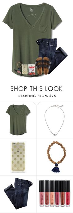 """paradise"" by hailstails ❤ liked on Polyvore featuring Gap, Kendra Scott, Kate Spade, 7 For All Mankind, Anastasia Beverly Hills and Birkenstock"