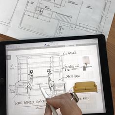 the ipad pro is such a fantastic tool for our work....it saves time ... we can draw right on site and send via email.... I'm hooked on this new technology!!!!#evelyneshundesign . . #ipadpro #sketch #designeratwork #details #instalike #instaday #planning #designplan #instadecor #instadesign #instago #insta #torontodesignerthe ipad pro is such a fantastic tool for our work....it saves time ... we can draw right on site and send via email.... I'm hooked on this new technology!!!!#eeid… New Technology, Ipad Pro, Sketch, Draw, How To Plan, Tips, Instagram, Design, Sketch Drawing