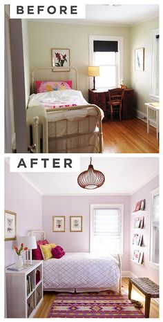 A sweet bedroom makeover from @Curbly. Features @Sherwin Huang-Williams paint color Rosebud (SW 6288). #SWPaintingWeek