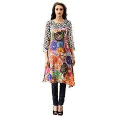 Admyrin Womens Georgette Digital Printed Kurti Large Multi Colour * Visit the image link more details-affiliate link. #TraditionalWear