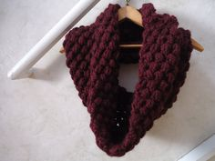 Burgundy Chunky Crochet Cowl