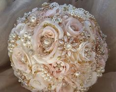 Items similar to ROSE GOLD Brooch Bouquet -Custom Made to Order Brides Brooch Bouquet - Rose Gold Bouquet , Brooch Bouquet, Jeweled Bouquet on Etsy