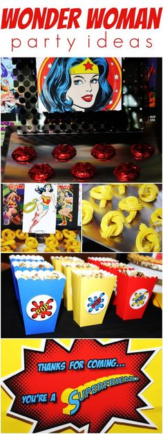Wonder Woman party idas! Girls can have super hero parties too. ♥ http://www.weheartparties.com
