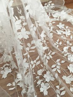 Excited to share the latest addition to my shop: Exquisite Illusion Leaf Bridal Gown Lace Fabric , Fine Made Vivid Floral Embroidery Blossom Fabric by Yard in Soft White Bridal Lace Fabric, Wedding Fabric, Tulle Lace, Tulle Fabric, Beaded Lace, Dress Lace, Cream Aesthetic, Aesthetic Colors, Aesthetic Photo