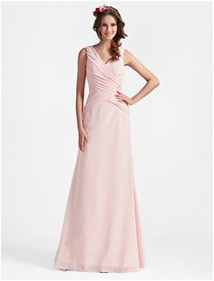 Sweet A-line V-neck Floor-length Chiffon Evening Dress /Bridesmaids Dress - CDdress.com