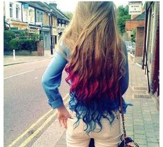 Dip dyed Dirty Blonde Blue and Pink hair