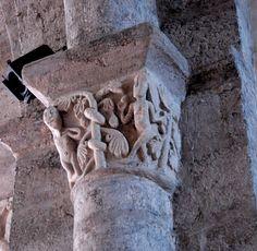 Abbatiale St-André de Valaudieu (Haute-Loire) - région Auvergne - chapiteau représentant Adam et Eve Adam Et Eve, Greek, Cycle, Statue, Roman, France, Ornaments, Big Top, Auvergne
