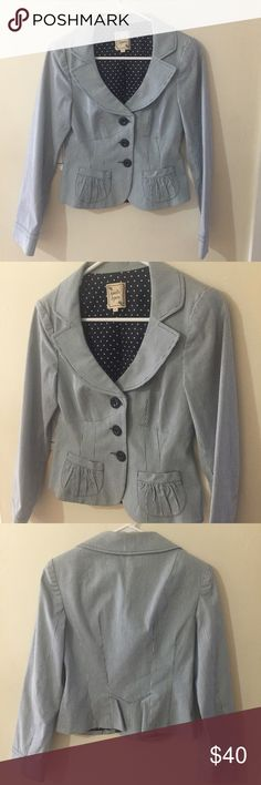 """Nanette Lepore Pinstripe Blazer Wear this Nanette Lepore jacket any time of the year to polish your look. Outfitted with blue and white pinstripes, this jacket has a lady like flair with a structured silhouette. Flat collar, button front. Long sleeves. Made in USA. Shell: 98%cotton/2%lycra. Lining: 100% acetate. PTP 15.5"""" across, length 19"""", sleeves 23"""", shoulders 14"""". Nanette Lepore Jackets & Coats Blazers"""