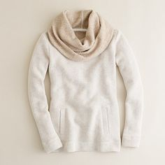 jcrew sweatshirt could totally add a knitted cowl to a basic sweatshirt, shape the sleeves and make this.