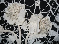 Antique Irish Lace, via Flickr. Notice the fine webbing made by the connect work.