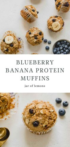 Blueberry Banana Protein Muffins that are wholesome, pack a punch with added protein, and that make your busy mornings a little bit easier! If you're tired of that same 'ol breakfast routine, then you must try these healthy protein muffins. Delicious blueberry and banana flavors, plant-based protein, and no added sugar. These Blueberry Banana Protein Muffins are perfect for the entire family and can be made in no time! Healthy Muffin Recipes, Healthy Muffins, Healthy Breakfasts, Healthy Snacks, Best Brunch Recipes, Best Vegetarian Recipes, Flax Egg Recipe, Blueberry Protein Muffins, Best Vegan Protein