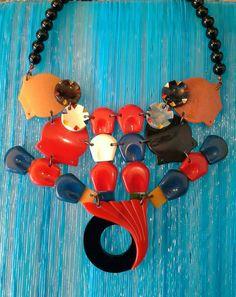 Necklace unique handmade summercolors vintagebuckles