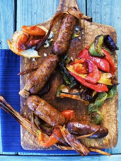 Grilled Sausage & Peppers; photo: Cathi Iannone #grilling #bbq #summer