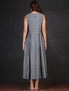 Grey-Red Embroidered Inverted Box Pleated Cotton Dress by Jaypore Linen Dresses, Modest Dresses, Cotton Dresses, Casual Dresses, Fashion Dresses, Western Dresses, Indian Dresses, Box Pleated Dress, Dress Over Pants