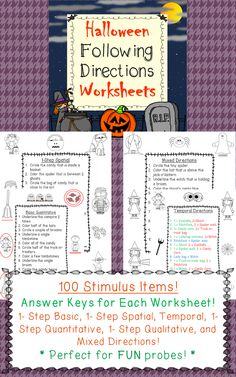 following directions activity haunted house october speech therapy ideas pinterest. Black Bedroom Furniture Sets. Home Design Ideas