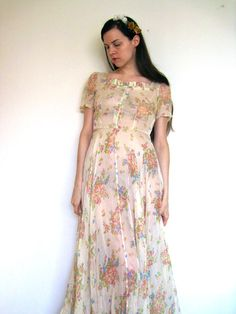 1930s Floral Dress Long Maxi Floor Length by SaraLouiseVintage